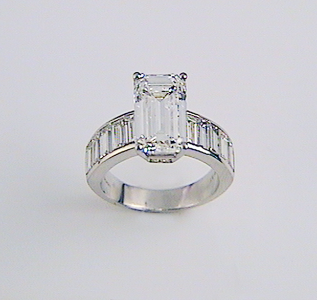 8714c71bc60ad Oblong Diamond Engagement Ring with Channel Set Band | K & W Jewelry ...