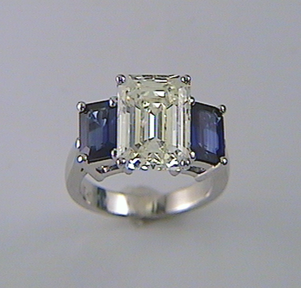Emerald Cut Diamond Engagement Ring With Ceylon Blue