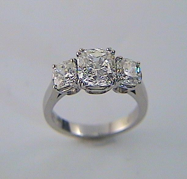 Three Stone Radiant Cutengagement Ring K Amp W Jewelry