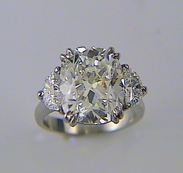 Cushion Cut Diamond Engagement Ring With Half Moon Sides K W