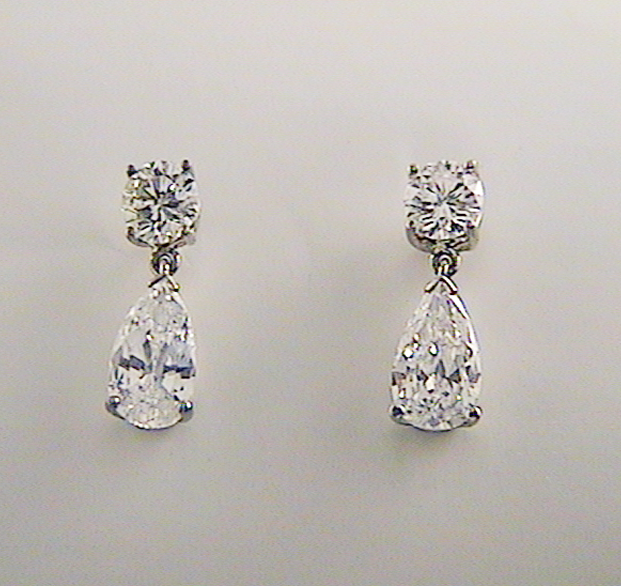 Round Diamond With Pear Drop Earrings K W Jewelry Kestenbaum Weisner